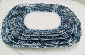 "Lot Of 5 Antique ""boness"" Flow Blue Variegated Trays ~"