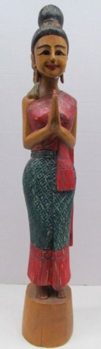 """Vintage Wood Carved Egyptian Praying Statue 30 1/2"""""""