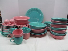 48 Pieces Vintage Fiesta Ware ~ Pink & Teal ~ Includes: