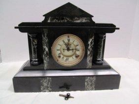 Antique Marble Column Porcelain Face Mantle Clock W/key