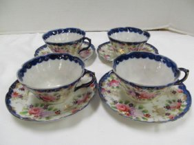 Lot Of 4 Hand Painted Flow Blue Cups & Saucers
