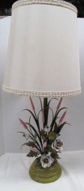 "Vintage Retro Metal Floral Table Lamp 35"" Tall"