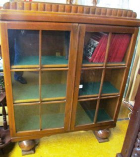 Vintage English Wood Glass Front Book / Curio Cabinet