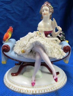 Dresden Germany Lacey Lady On Settee W/parrot & Hand