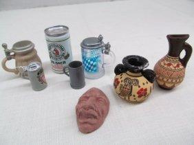 Vintage 8 German Miniature Steins ~ Vases ~ Clay Mask