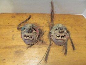 Vintage Set Of 2 Clay Masks