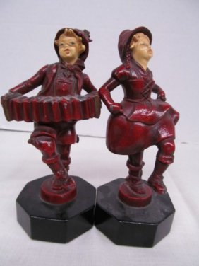 Vintage Pair Of Cast Figures ~ Accordion Player &