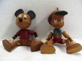 Vintage (62) Wood Carved Disney Jointed Character Dolls