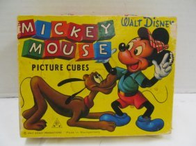 Vintage (129) Walt Disney Wood Picture Cubes In