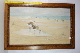 OOC Depicting Shire Birds 41x25 Signed CR Parke