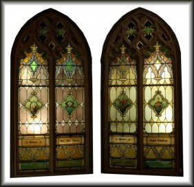 """Pair Of 9'5"""""""" X4'6"""""""" Stained Glass Cathedral Church"""