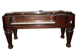 Antique Square Grand Piano Labeled T. Gilbert Of Bo