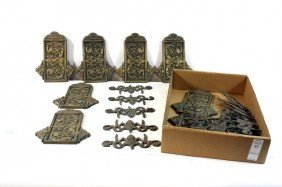 Brass Hardware Lot With Northwind Faces