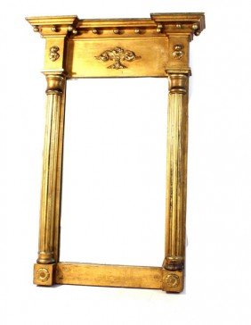 Federal Style Gilt Mirror With Period Glass And Col