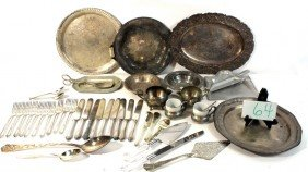 Silver Plate And Pewter Lot With Flatware And More