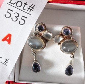 Moonstone And Tanzanite Earrings