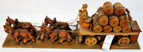 Hand Carved Horse And Cart Figures From Germany 17