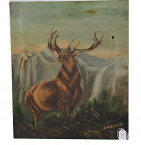 OOC 20x17 Depicting A Bull Elk Signed AP Batchelder