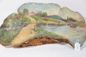 """Oil Painting On Mushroom 18""""x 10 Depicting Village"""