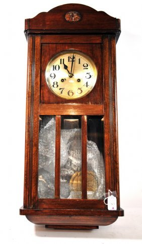 "Oak Wall Clock 30"" Long Purchased In Antique Shop"
