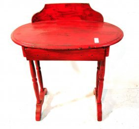 Oval Pine Stand Painted Red One Drawer With Back Sp