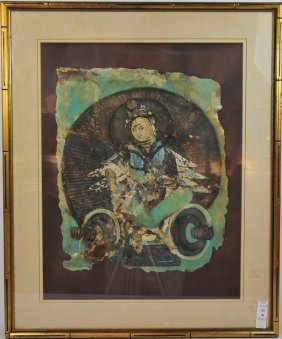 Print Of Oriental Man In Greens And Blues 32x26