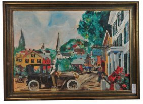 OOB 22x32 Depicting Street Scene With Tavern By E.