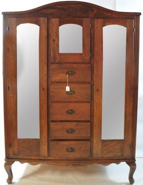 1940's- 1950's Armoire Wooden Doubled Mirror Drawe