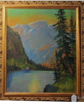OOC Mountain Scene By Listed Artist James Merriam 2