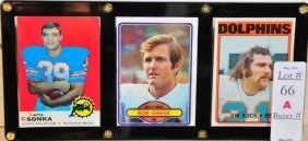 Three Miami Dolphins Cards, 1970's And 1980's Larr