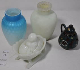 """Five Piece Lot To Include Satin Glass Vases, 3 1/2"""""""
