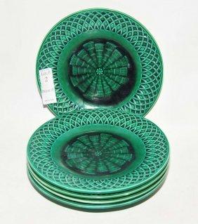 "5 Green Minton Majolica 9"" Plates"