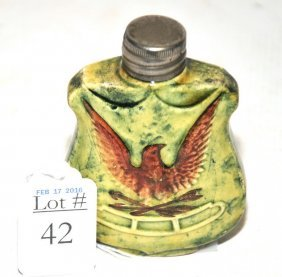 Early Fraternal Flask With Eagle 4""