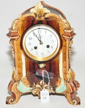 Antique Majolica French Shelf Clock 13""
