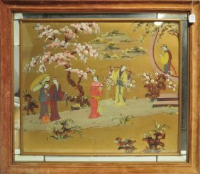 Asian Reverse Painting On Glass.