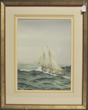 Framed Watercolor Of A Sailboat