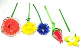 "5 Italian Glass Flowers 21"""