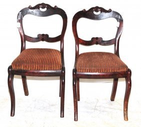Pair Of Walnut Antique Side Chairs