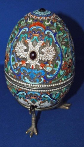 Russian Enameled Silver Egg On Stand
