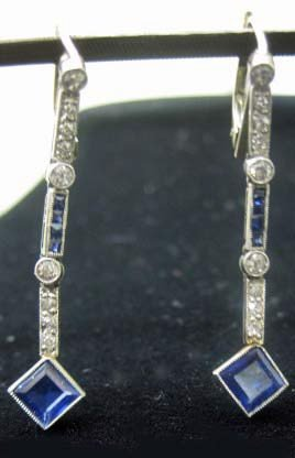Pair Of White Gold Sapphire Drop Earrings