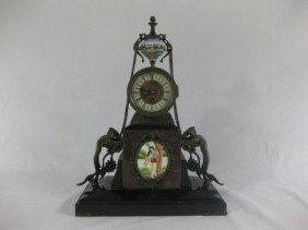 Victorian Brass Mounted Marble Clock