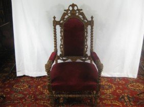 Victorian Carved High Back Open Arm Chair