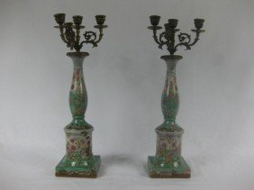 Pair Of French Porcelain And Bronze Candelabra