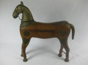 Brass & Wood Carved Figure Of Horse