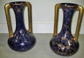 Pair Of Cobalt And Gilt Decorated Porcelain Vases