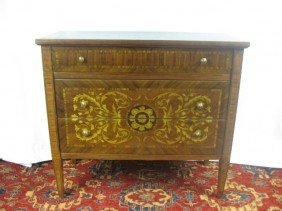 Dutch Marquetry Inlaid 3 Drawer Commode