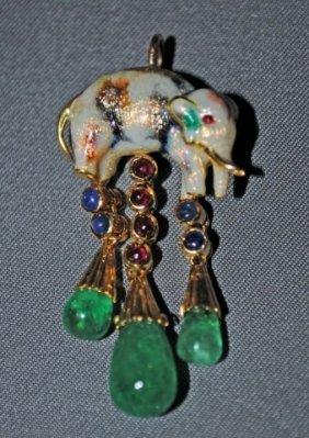 Enameled 18K Gold Elephant Form Pendant