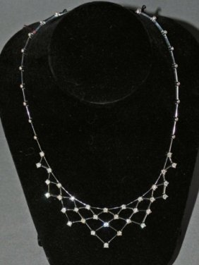 18K White Gold Diamond Bib Necklace