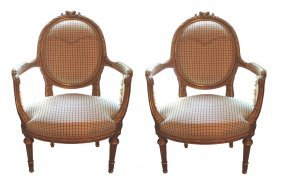 Pair 19th C. French Louis XVI Giltwood Armchairs
