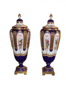 Pair Of 19th C. Sevres Floral Decorated Vases